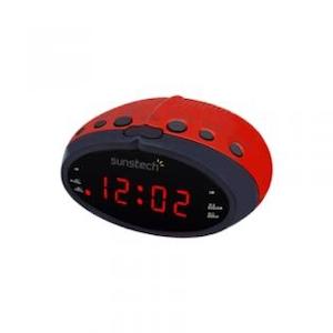 Sunstech FRD16RD - Radio Reloj Rojo