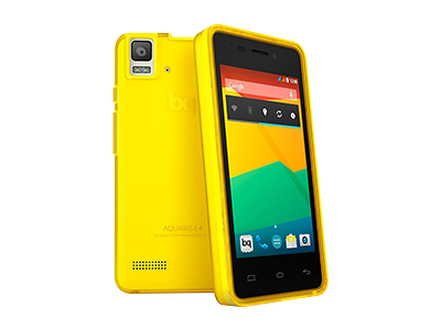 Bq AQUARIS E4 YELLOW GUMMIE COVER - Funda Para Movil